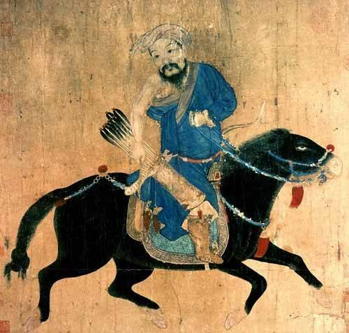 ethnic and oriental paintings - Picture -Arquero Mongolo a caballo- - _Anónimo Chino