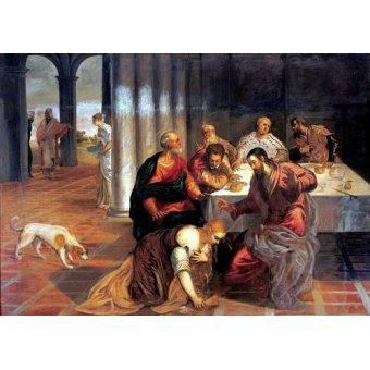 quadros religiosos - Quadro -La conversión de Magdalena- - Tintoretto, Jacopo Robusti
