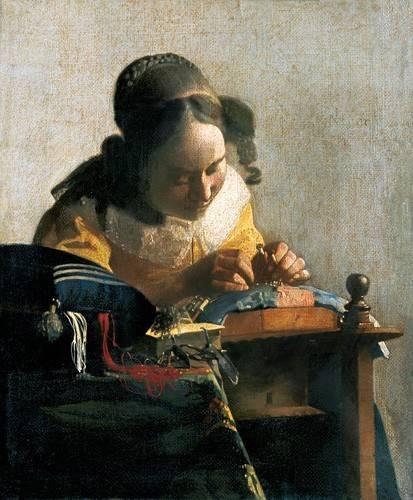 pinturas-de-retratos - Quadro -La encajera- - Vermeer, Johannes