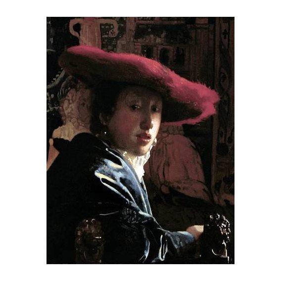 pinturas do retrato - Quadro -Muchacha con un sombrero rojo-