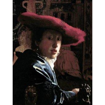 - Quadro -Muchacha con un sombrero rojo- - Vermeer, Johannes