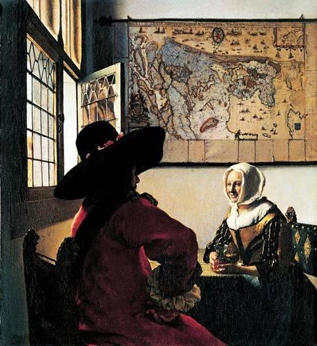 pinturas-de-retratos - Quadro -Soldado y joven sonriente- - Vermeer, Johannes