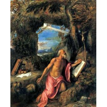 quadros religiosos - Quadro -San Jerónimo en penitencia- - Tiziano, Tiziano Vecellio