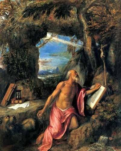 religious paintings - Picture -San Jerónimo en penitencia- - Tiziano, Tiziano Vecellio