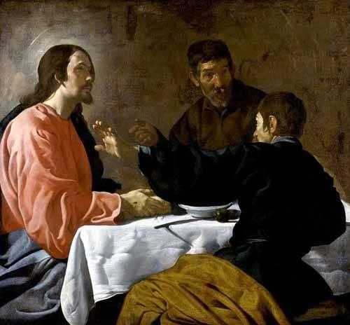 cuadros religiosos - Cuadro -La cena en Emmaus- - Velazquez, Diego de Silva