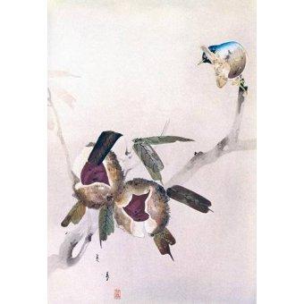 quadros étnicos e orientais - Quadro -Pequeño pajaro sobre una rama de castaño- - _Anónimo Chino