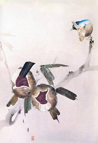 quadros-etnicos-e-orientais - Quadro -Pequeño pajaro sobre una rama de castaño- - _Anónimo Chino