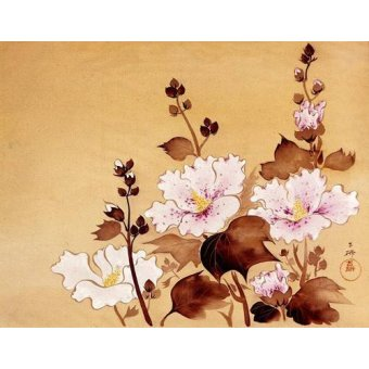 cuadros etnicos y oriente - Cuadro -Flores blancas- - _Anónimo Chino
