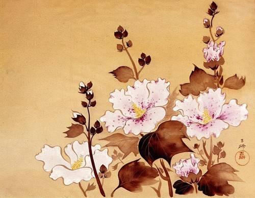 quadros-etnicos-e-orientais - Quadro -Flores blancas- - _Anónimo Chino