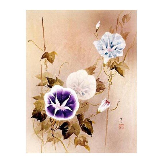 ethnic and oriental paintings - Picture -Enredadera con flores moradas y azules-