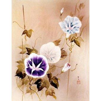 quadros étnicos e orientais - Quadro -Enredadera con flores moradas y azules- - _Anónimo Chino