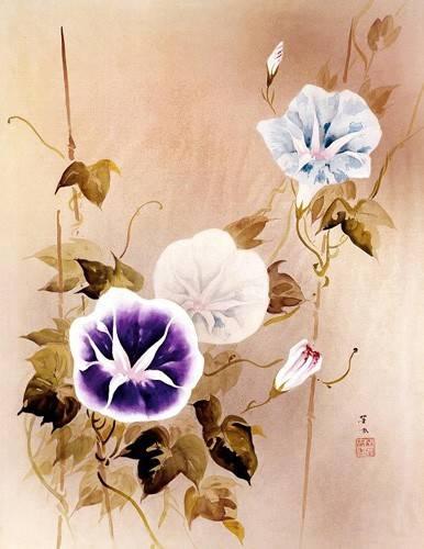 ethnic and oriental paintings - Picture -Enredadera con flores moradas y azules- - _Anónimo Chino
