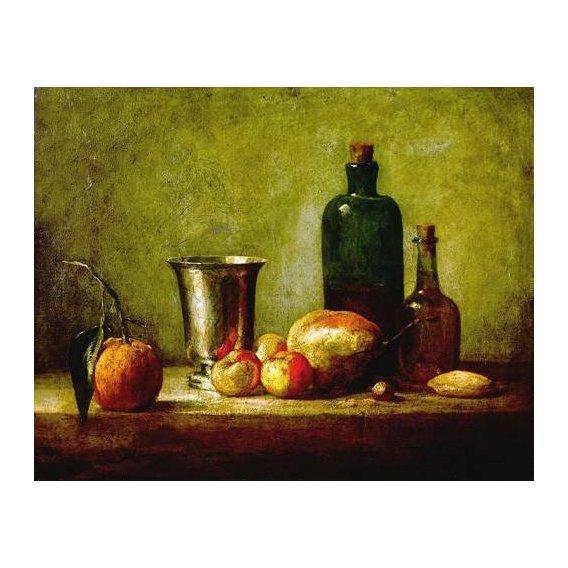 naturezas mortas - Quadro -Cubilete de plata, fruta y botellas-