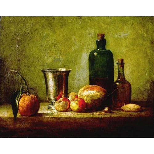 Quadro -Cubilete de plata, fruta y botellas-