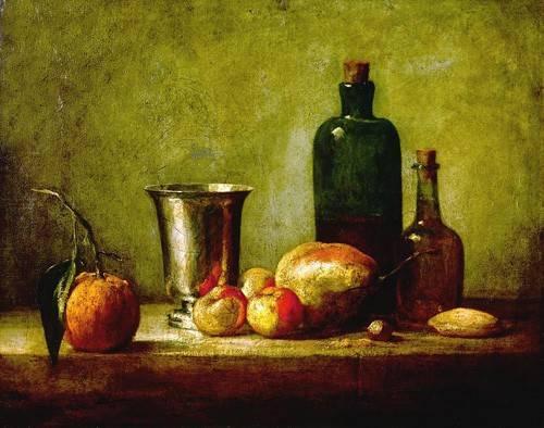 naturezas-mortas - Quadro -Cubilete de plata, fruta y botellas- - Chardin, Jean Bapt. Simeon