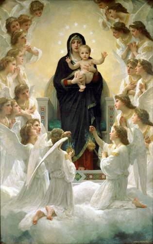 quadros-religiosos - Quadro -La Virgen y angeles- - Bouguereau, William