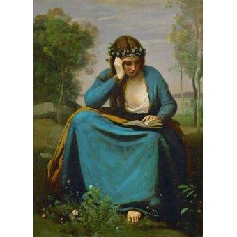 pinturas de retratos - Quadro -La Muse de Virgil- - Corot, J. B. Camille