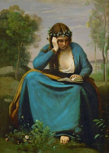 pinturas-de-retratos - Quadro -La Muse de Virgil- - Corot, J. B. Camille