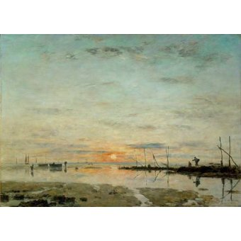 - Quadro -Le Havre, Sunset at low tide- - Boudin, Eugene