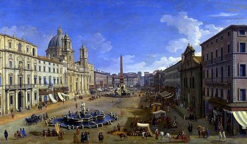quadros-de-paisagens - Quadro -Roma, vista desde la Piazza Navona- - Canaletto, Giovanni A. Canal