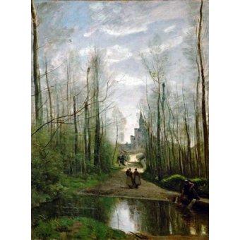- Quadro -L'église de Marissel- - Corot, J. B. Camille