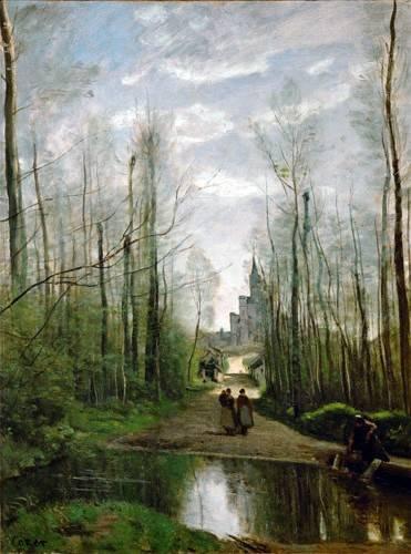 quadros-de-paisagens - Quadro -L'église de Marissel- - Corot, J. B. Camille