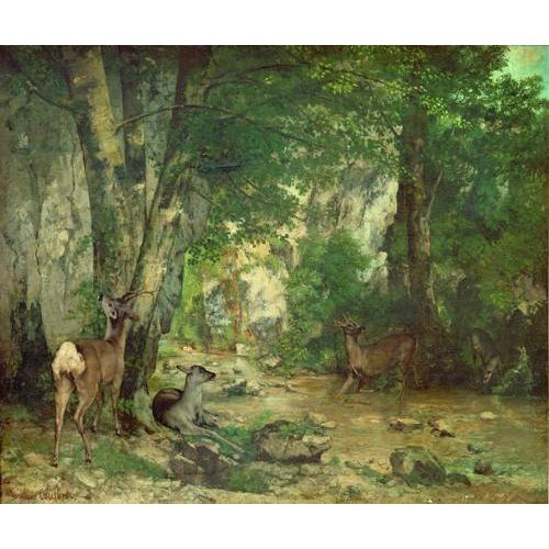 pinturas de paisagens - Quadro -A Thicket of Deer at the Stream of Plaisir Fountaine-