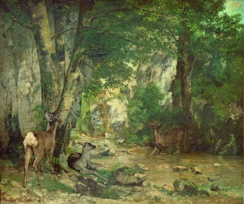 quadros-de-paisagens - Quadro -A Thicket of Deer at the Stream of Plaisir Fountaine- - Courbet, Gustave