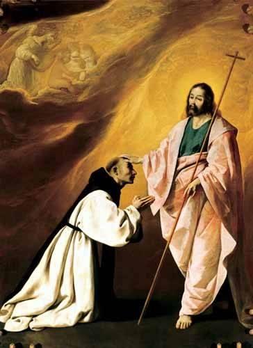 religious paintings - Picture -Aparición de Cristo al Padre Salmerón- - Zurbaran, Francisco de