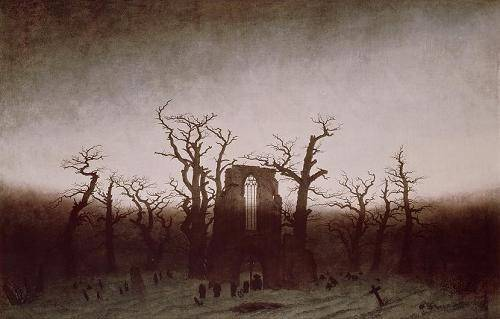quadros-de-paisagens - Quadro -Abbey in the Oakwood, 1810- - Friedrich, Caspar David