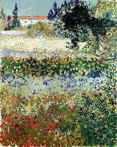 quadros-de-paisagens - Quadro -Garden in Bloom, Arles, 1888- - Van Gogh, Vincent