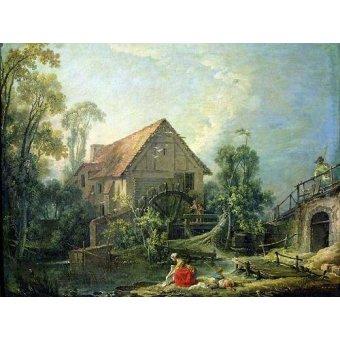 quadros de paisagens - Quadro -The Mill, 1751 (oil on canvas)- - Boucher, François