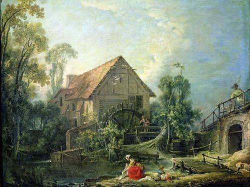 quadros-de-paisagens - Quadro -The Mill, 1751 (oil on canvas)- - Boucher, François