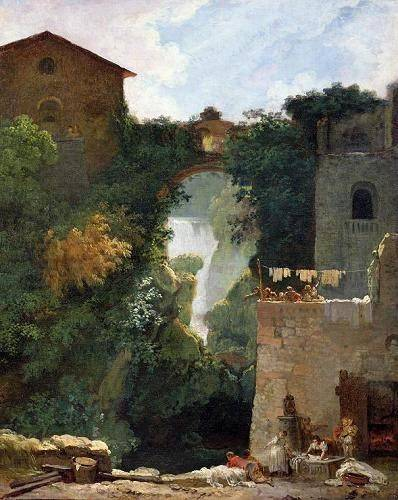 quadros-de-paisagens - Quadro -The Falls of Tivoli (oil on canvas).- - Fragonard, Jean Honoré