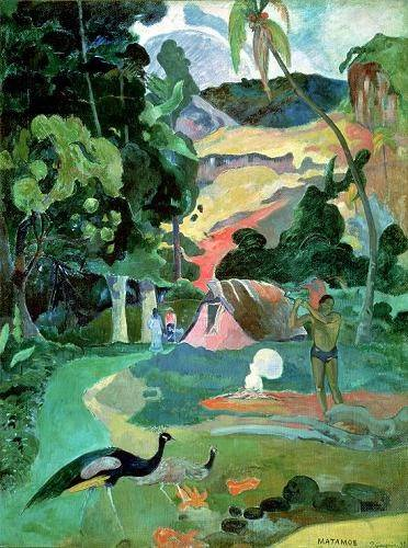 quadros-de-paisagens - Quadro -Matamoe or, Landscape with Peacocks- - Gauguin, Paul