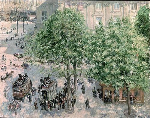 quadros-de-paisagens - Quadro -Place du Theatre-Francais, Spring, 1898- - Pissarro, Camille