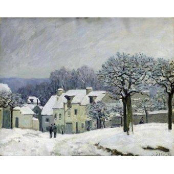 - Quadro -The Place du Chenil at Marly-le-Roi, Snow, 1876- - Sisley, Alfred