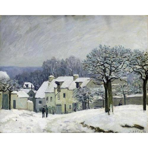 Quadro -The Place du Chenil at Marly-le-Roi, Snow, 1876-