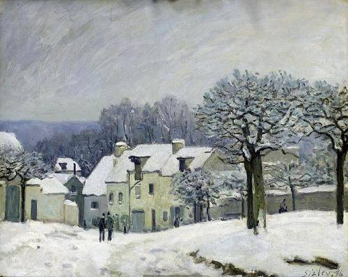 quadros-de-paisagens - Quadro -The Place du Chenil at Marly-le-Roi, Snow, 1876- - Sisley, Alfred