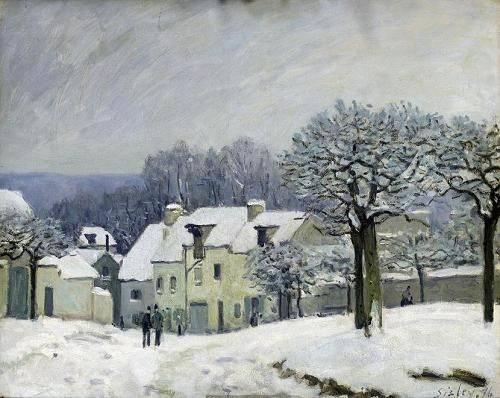 quadros-de-paisagens - Quadro -The Place du Chenil at Marly-le-Roi, Snow, 1876- - Sisley, Alfred