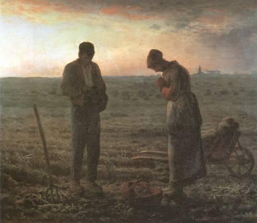 quadros-religiosos - Quadro -El Angelus, 1857-1859- - Millet, Jean François
