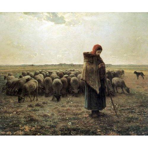 pinturas de paisagens - Quadro -Bergère gardant ses moutons dite la Grande Bergère, 1862-1864-