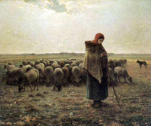 quadros-de-paisagens - Quadro -Bergère gardant ses moutons dite la Grande Bergère, 1862-1864- - Millet, Jean François
