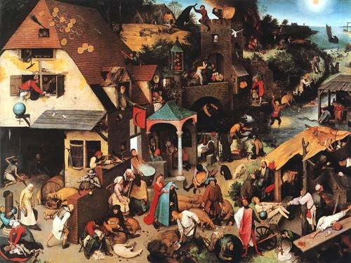 pinturas-de-retratos - Quadro -The Netherlandish Proverbs- - Bruegel