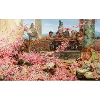 pinturas de retratos - Quadro -The Roses of Heliogabalus- - Alma-Tadema, Lawrence