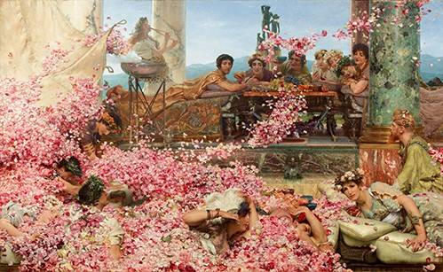 pinturas-de-retratos - Quadro -The Roses of Heliogabalus- - Alma-Tadema, Lawrence