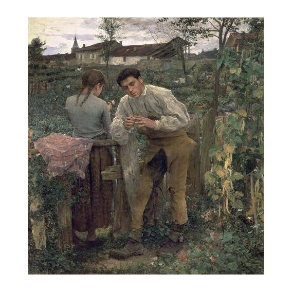 pinturas do retrato - Quadro -Rural Love, 1882 (oil on canvas).-