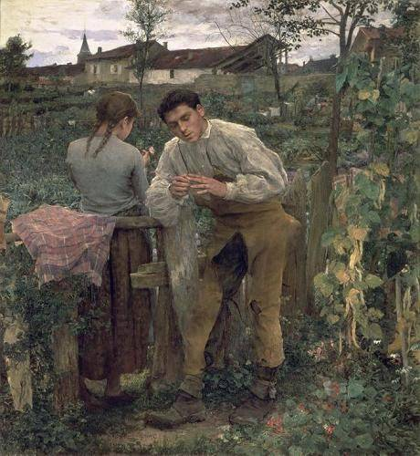pinturas-de-retratos - Quadro -Rural Love, 1882 (oil on canvas).- - Bastien Lepage, Jules