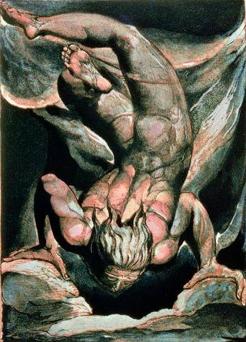 pinturas-de-retratos - Quadro -The First Book of Urizen, Man floating upside down- - Blake, William