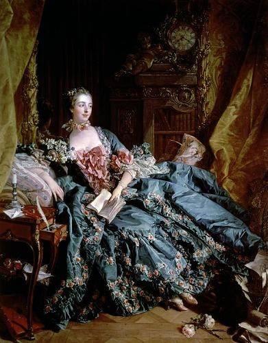 pinturas-de-retratos - Quadro -Madame de Pompadour- - Boucher, François